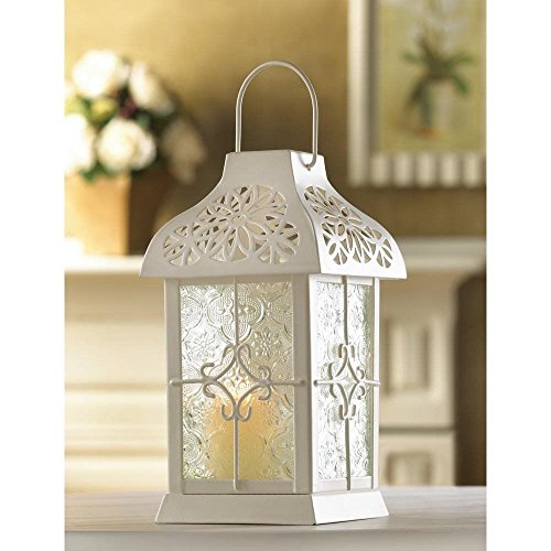 Daisy Gazebo Small Candle Lantern Creamy White Lacy Design