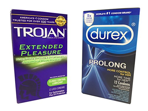 Durex Prolong and Trojan Extended Pleasures Climax Control Latex Condoms Combo Pack with Silver Pocket/Travel (Latex Condoms Climax Control)
