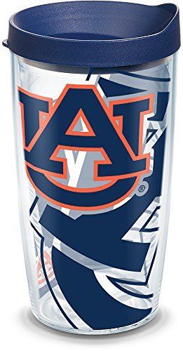 Tervis 1289314 Ncaa Auburn Tigers Tumbler With Lid, 16 oz, Clear