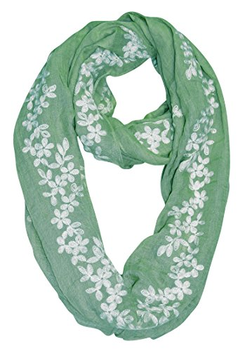 [Peach Couture Sheer Soft Cloth Floral Embroidered Flower Infinity Loop Scarf Daisy Mint] (Neon Outfits)