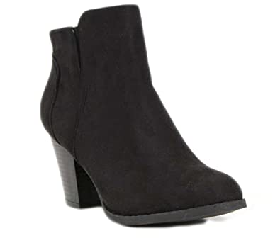 Womens Forever Faux Suede Chunky Heel Booties