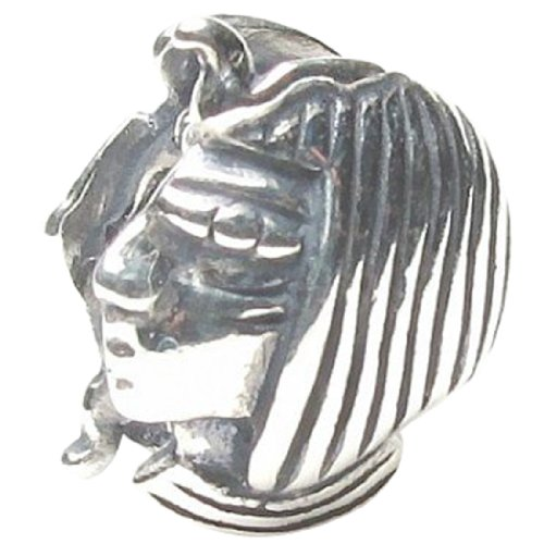 Beads Hunter Jewelry Egyptian Pharaoh Head .925 Sterling Silver Charm Pandora, Chamilia, Biagi & European Bracelets Compatible.