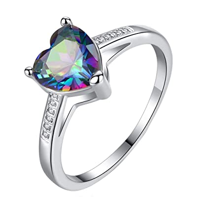 Wenini Love Heart Ring, Women Simple Love Love Heart Shaped Hearts Colorful Zircon Ring Jewelry Gift for Women Girls (7, Silver): Home & Kitchen
