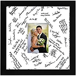 Americanflat 14x14 Wedding Signature Picture Frame - Display Pictures 5x7 or 14x14 Without Mat - Made with Glass