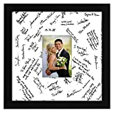 Americanflat 14x14 Wedding Signature Picture Frame - Display Pictures 5x7 with Mat or 14x14 without Mat - Made with Glass