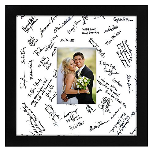 Wedding Photo Picture Frame (14x14 Wedding Signature Picture Frame - Matted to Fit Pictures 5x7 Inches or 14x14 Without Mat - Made with Glass)