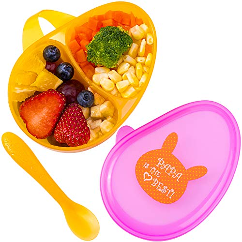 Tiny Wonders BPA Free Baby Divided Bowls with Lids, Toddler Travel Feeding Bowl Set with Spoon Utensils, Baby Shower Gift Set for 4, 5, 6, 8, 10, 12 Month and Up Infant, Boys, Girls, Kids