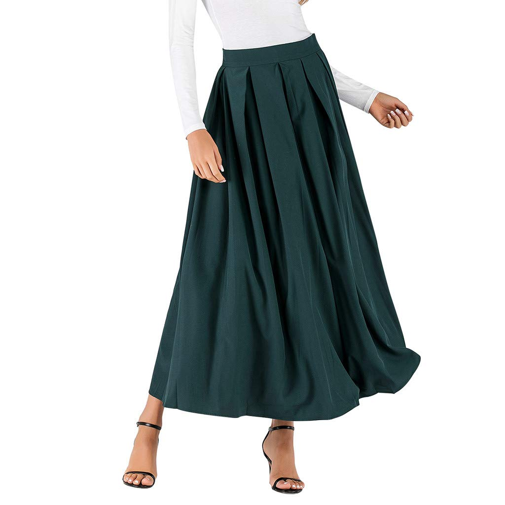 UCQueen Women's Autumn and Winter Solid Color Fashion Pleated Skirt High Waist Skirt Loose Swing Skirt Green by UCQueen