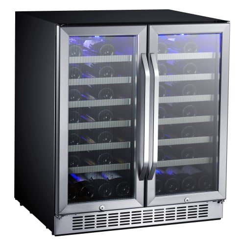 Price comparison product image EdgeStar CWR5631FD 30-Inch 56 Bottle Built-In Dual Zone French Door Wine Cooler