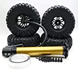 NOMENI 4PCS 2.2 Inch Inflatable Rubber Tires with Wheel Rims for 1/10 Crawler SCX10 TRX4 4WD RC Toy Cars