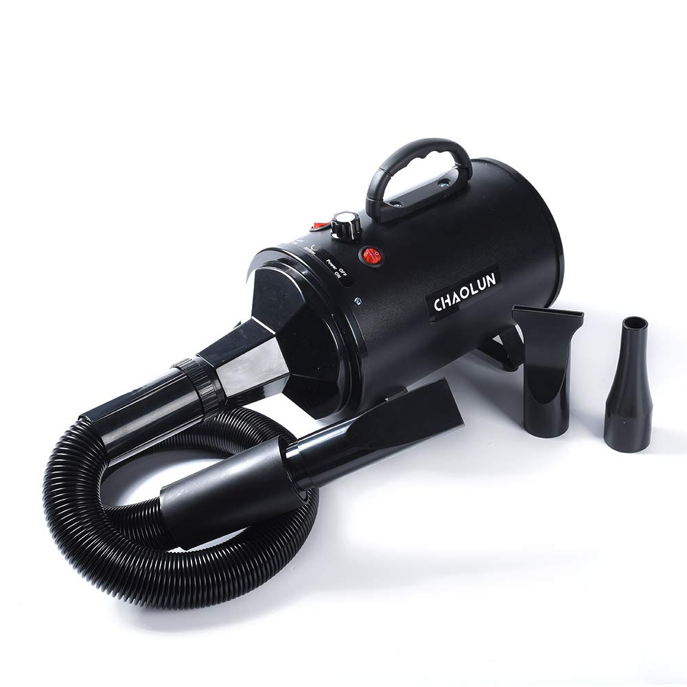 CHAOLUN High Velocity Pet Hair Dryer - Blower Grooming Dryer with Heater Dogs & Cats, 3.2HP 2400W Powerful Blow Force, Stepless Adjustable Speed, Reduce Noise, Heat Insulation, Black