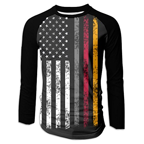 German American Flag Men's Raglan Baseball T-Shirts Long Sleeve Baseball Tees XL