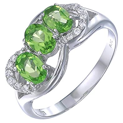 Sterling Silver Peridot 3 Stone Ring 1.15 CT