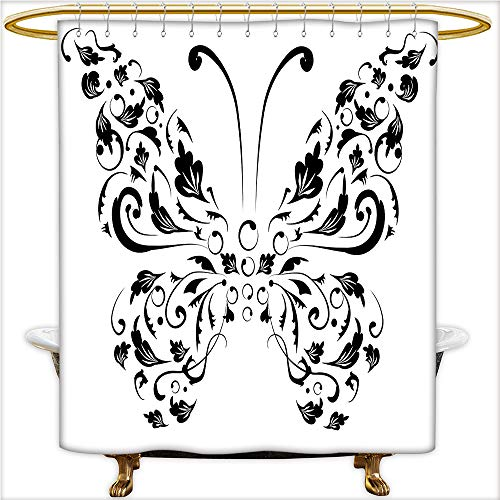 Qinyan-Home Shower Curtain Silhouette of Moth with Swirl Floral Blossom Line Spirit Animal Illustration for Black and White. Mildew Resistant Waterproof with 12 Hooks.W66 x H72 Inch