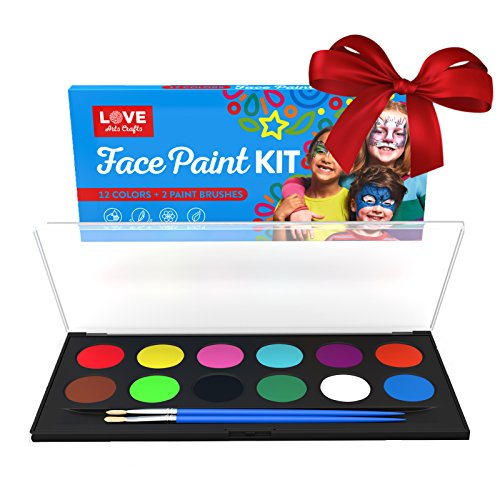 Face Painting Kit- Safe Non Toxic 12 Vibrant Color Palette . Professional Quality Face & Body Paint Kits with 2 brushes and Bonus E-book. Ideal Christmas Stocking Stuffer (Ultimate Warrior Face Paint compare prices)