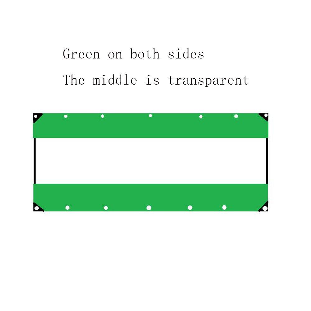 YANGFEI 防水シート 透明な防水シートタフヘビーデューティタポリンクロスラミネート、透明、アイレット/UV安定性を含む3サイズ 耐久性に優れています B07FC3N6QB 4×4m|Green+Trans+green Green+Transparent+green 4×4m