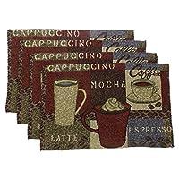 "Hickoryville Placemat Bundle - Set of 4 Coffee Themed Placemats 13"" x 19"" (Latte Mocha Espresso)"