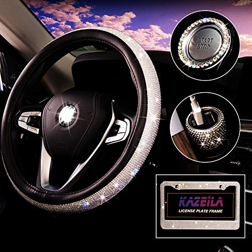 Bling Car Accessories Set for Women, Diamond Leather ...