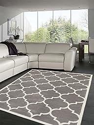 Sweet Home Stores Clifton Collection Light Grey Moroccan Trellis Design (5\'3\'\'X7\') Area Rug