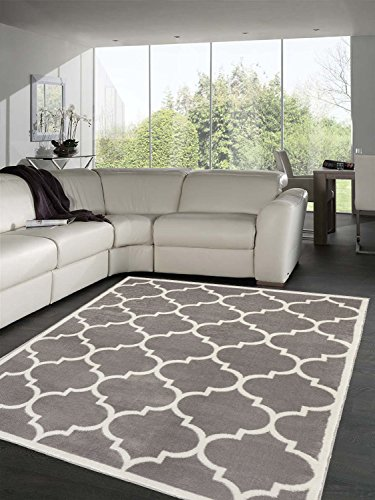 Sweet Home Stores Clifton Collection Light Grey Moroccan Trellis Design (5'3''X7') Area Rug