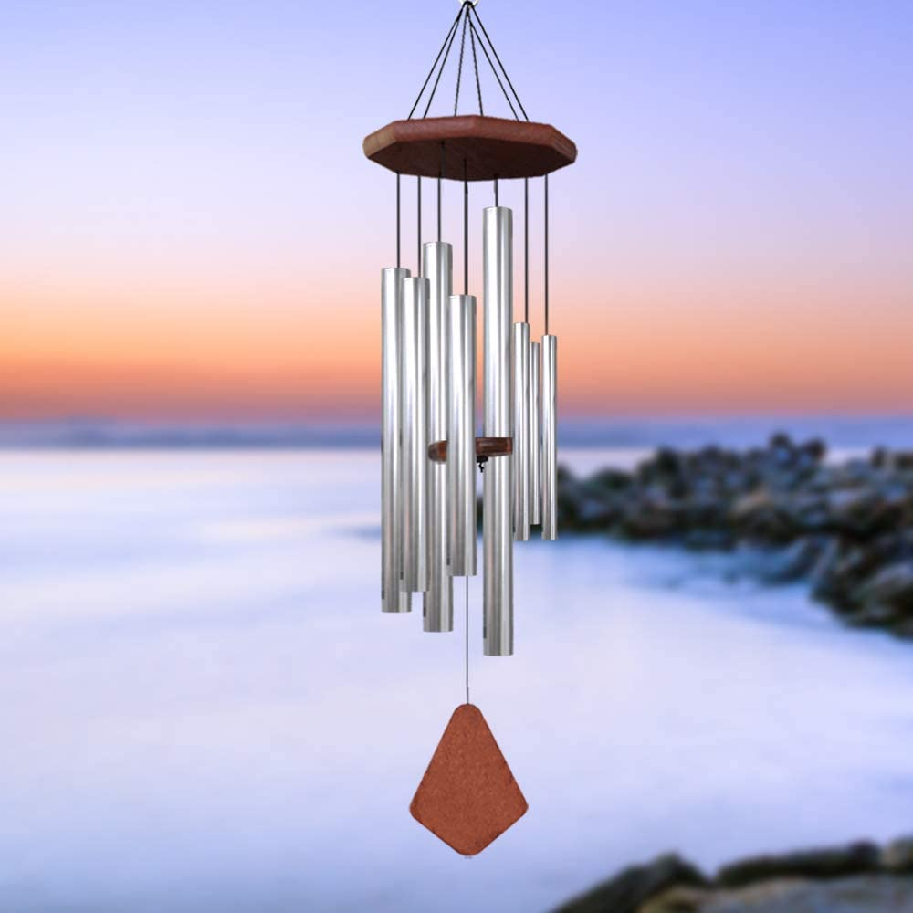 Sympathy Wind Chimes Outdoor Deep Tone,Memorial Wind Chimes with 8 Handmade Tuned Tubes in Memory of Loved One as Sympathy Gift, Unique Wind Chimes Outdoor for Mother Father,Garden Decor(32 Inch)