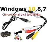 ClimaxDigital VCAP303 USB 2.0 Video Capture for Windows 10, Windows 8/8.1/ 7- VHS to DVD/VCD Maker from video source: VHS, V8, Hi8 for laptop/PC,video recorder, camcorder, DVD player or Satellite TV receiver+ AV cable & SCART Adaptor