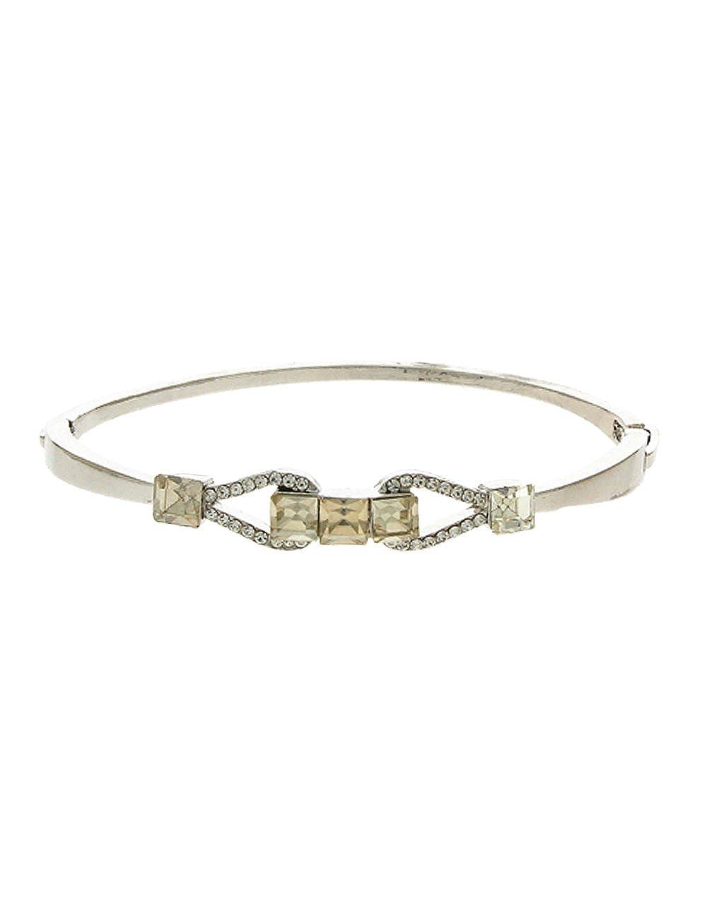 Anuradha Art Silver Finish Styled with Shimmering Stone Fancy Hand Bracelet//Kada for Women//Girls