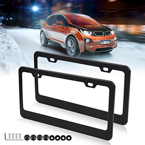 License Plates Frames Car Bottom License Plate Frames 2Pcs 2 Holes Silver Licenses Plate Covers Replacement fit for US Vehicles by CCIYU