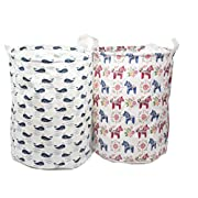 2-Pack ECOHIP Small Storage Bin Fabric - Toy Box/ Toy Storage/ Toy Organizer for Boys and Girls - Kids Laundry Basket/ Nursery Hamper