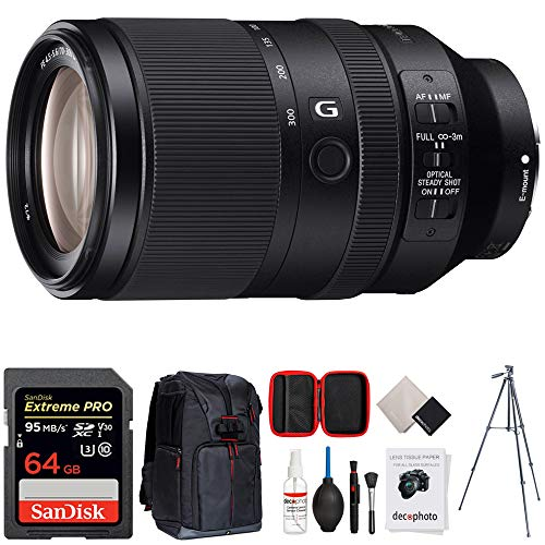 """Sony FE 70-300mm F4.5-5.6 G OSS Full-Frame E-Mount Lens (SEL70300G) + 64GB Accessories Bundle Includes, 64GB SDXC Memory Card, Photo Camera Sling Backpack, 60"""" Video Tripod & All-in-One Cleaning Kit"""