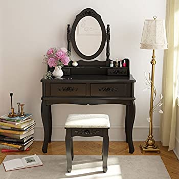 Tribesigns Vanity Makeup Table Set With Mirror U0026 Stool, Bedroom Dressing  Table Dresser Desk With
