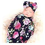 Newborn Receiving Blanket Headband Set, Flower Print Baby Swaddle Blanket with Bow Set, Baby Shower Giftfor Girls Boys (Navy Blue Rose)