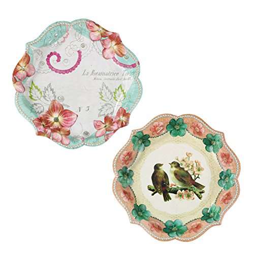 Afternoon Tea Plate - Talking Tables Pastries & Pearls Vintage Style Paper Plates, 12 count, for a Tea Party or Birthday, Multicolor