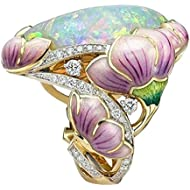 Dainzuy Women Oval Opal Statement Engagement Anniversary Ring Enamel Flower Painted Ring Jewelry for Gift Stone Ring