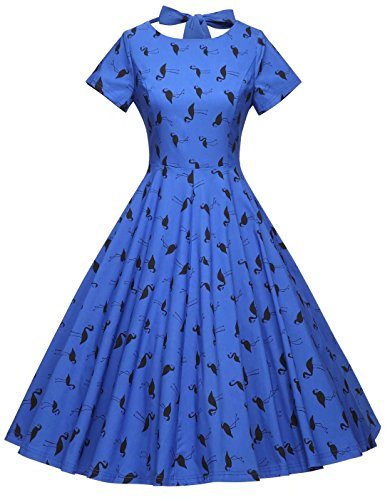 GownTown Womens 1950s Vintage Retro Party Swing Dress Rockabillty Stretchy Dress,Royalblue Floral,X-Large