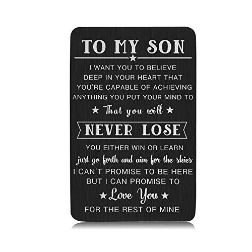 To My Son Gifts from Mom Dad for Kids Teen Boys Graduation Inspirational Wallet Insert Card for Son in Law Stepson…