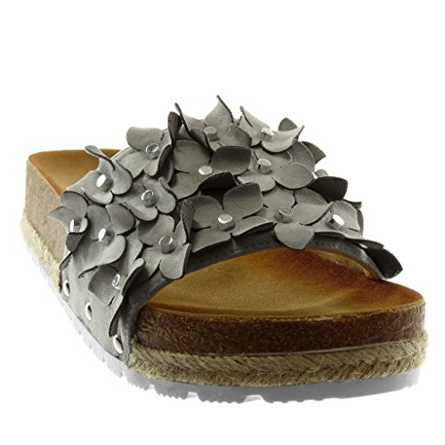 Angkorly Women's Fashion Shoes Mules Sandals - Slip-on - Platform - Flowers - Pearl - Cord Wedge Platform 6 cm Grey oWgVS