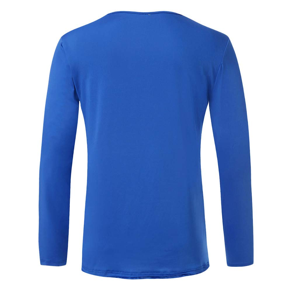 Autumn Winter Solid O-Neck Button Long Sleeve Casual Slim Tops T-Shirt OSTELY Mens Pullover