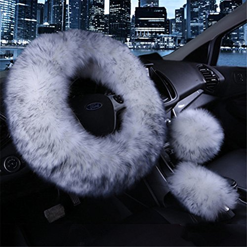 Wheel Steering Set Cover (3Pcs Fashion Steering Wheel Covers - Silence Shopping Winter Warm Australia Pure Plush Soft Wool Handbrake Cover Gear Shift Cover Guard Truck Car Accessory 14.96