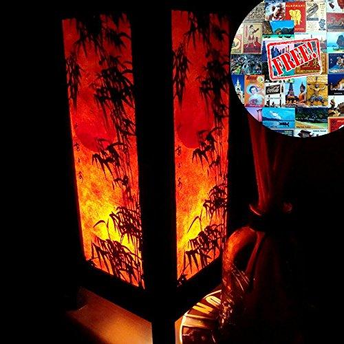 Bamboo Table Light (Orange Bamboo Table Lamp Lighting Shades Floor Desk Outdoor Touch Room Bedroom Modern Vintage Handmade Asian Oriental Wood LED Bedside Gift Art Home Garden Christmas; Free Adapter; Us 2 Pin Plug #153)