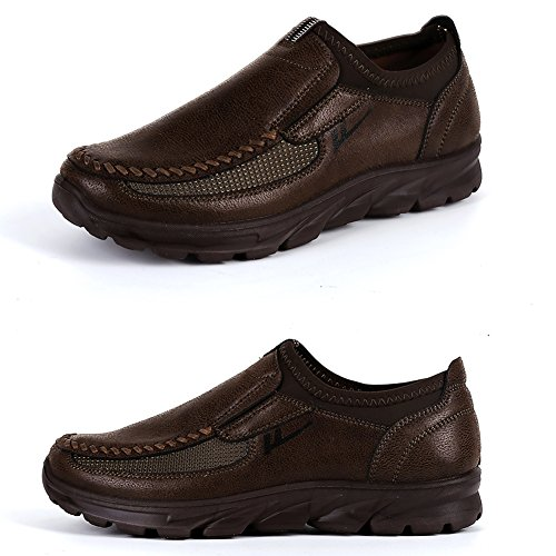 (Maizun Large Size Loafer Shoes for Men Walking Shoes Fashionable and succinct Leisure Business Work Shoes Dark Brown)