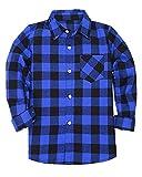 Kids  Big Boys Long Sleeves Button Down Flannel Cotton Plaid Shirt Tops Blue Black, 12-13 Years = Tag 180