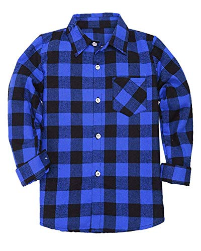 Flannel Apparel - Kids  Big Boys Long Sleeves Button Down Flannel Cotton Plaid Shirt Tops Blue Black, 12-13 Years = Tag 180