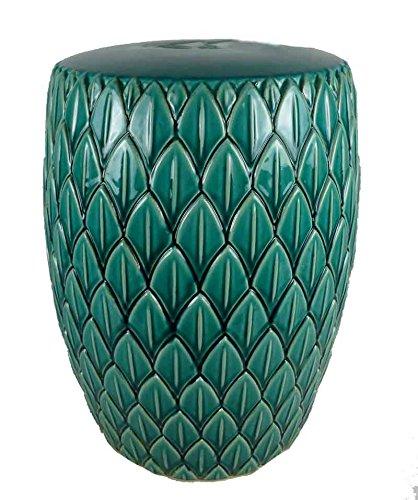 Sagebrook Home FC10446-01 Modern Leaf Garden Stool, Light Teal Ceramic, 16 x 16 x 19 Inches