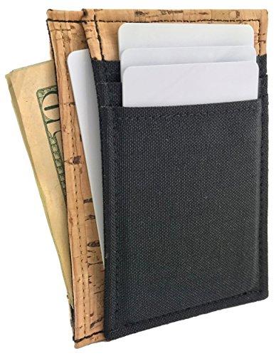 Vegan Cork Deluxe Front Pocket Wallet with Cordura Nylon Canvas (Handmade in California by NIC GIOR) (Mens Deluxe Front Pocket Wallet)