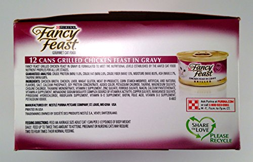 Purina Fancy Feast Grilled Chicken Canned Cat Food, One Carton with (12) 3oz cans
