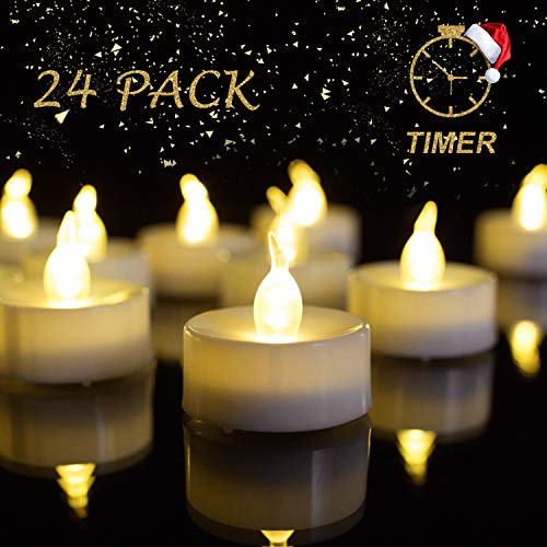 Beichi Battery Operated Tea Lights with Timer, Set of 24 LED Timed Tealight Candles, Warm White Flickering Electric Tea Candles, 6 hrs On 18 hrs Off (Lights With Tea Timers)