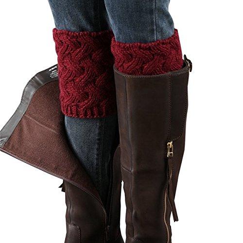 Boot Cuffs Boot (Desen Women's Crochet Leg Warmers Winter Cable Knit Boot Cuffs (Burgundy))