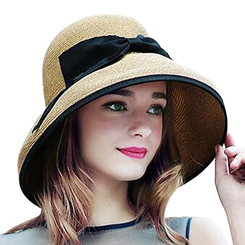 (LAI MENG FIVE CATS Womens Floppy Straw Summer Beach Sun Hat Foldable Big Brim Hat With Bow)