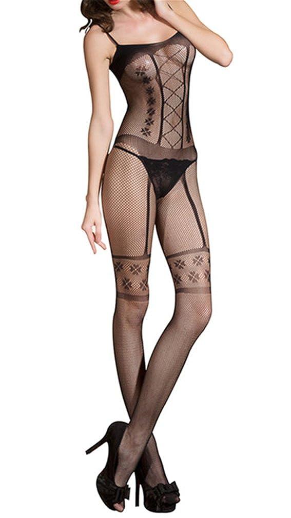 YouYaYZAI Women Fishnet Sheer Open Crotch Body Stocking Bodysuit Lingerie